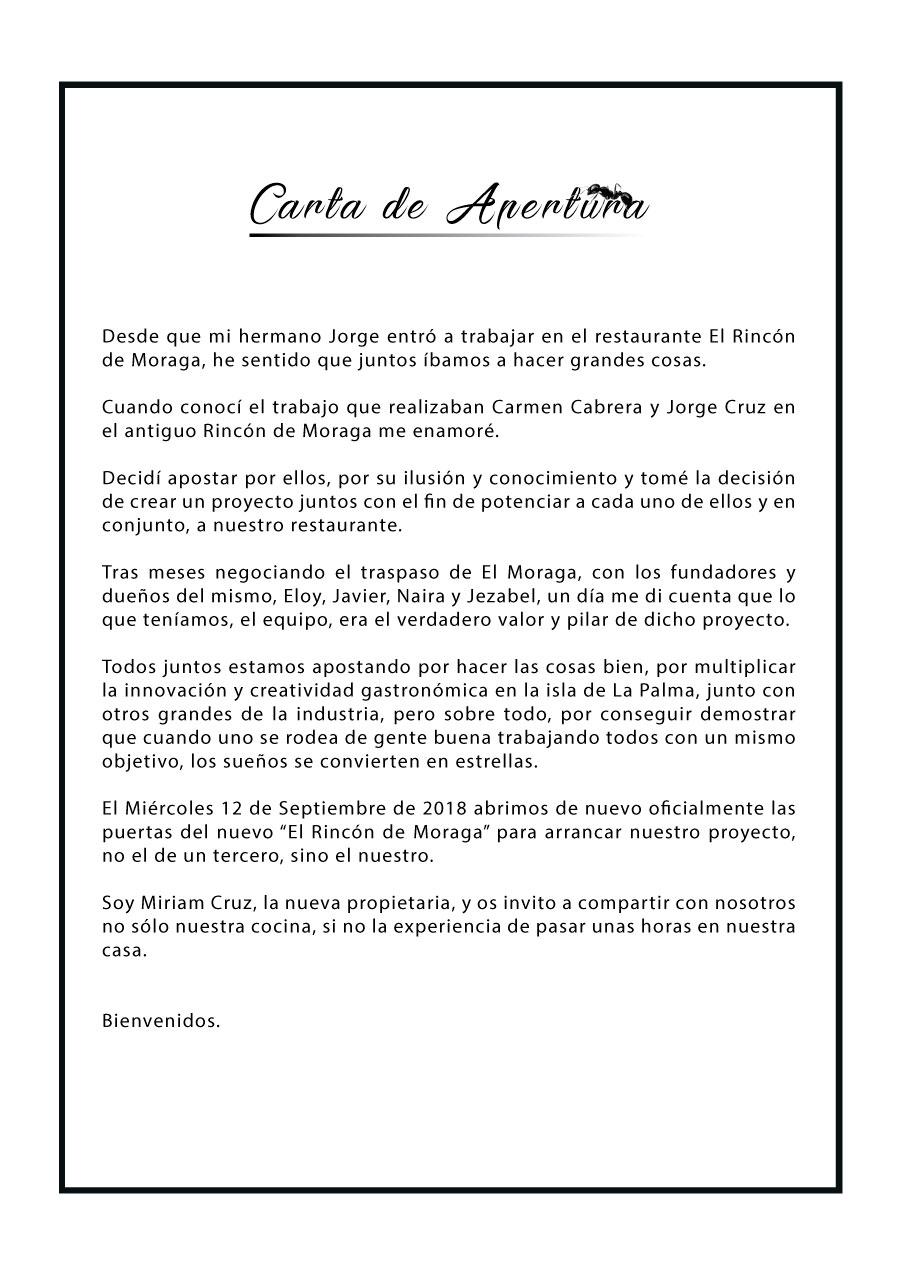 Carta de Apertura Restaurante Moragas